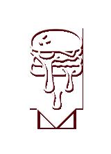 Logo burger avec flèche vers le bas